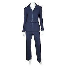 Vintage 1970s Courreges Paris Couture Future Pant Suit Pants & Jacket Size S M