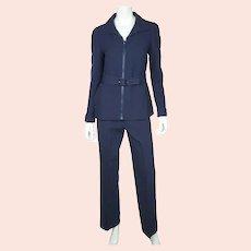 Vintage 1970s Courreges Paris Couture Future Pant Suit Pants & Jacket Size S M