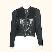 Vintage Guy Laroche Paris Sequinned Jacket Boutique Collection Black Crepe Sz 40