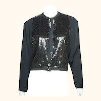 Vintage Guy Laroche Paris Sequinned Jacket Boutique Collection Black Crepe Sz 40