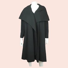 Vintage 1950s Evening Coat with Cape Style Shawl Collar Black Wool Ladies Size L
