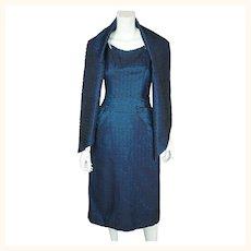 Vintage 1950s Cocktail Party Dress Blue  & Black Taffeta New York Fashion Size M