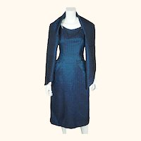 Vintage 1950s Cocktail Party Dress Blue  & Black Taffeta New York Fashion Size M