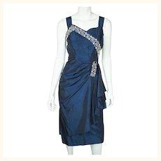 Vintage 1940s Cocktail Party Dress Beaded Blue Taffeta Size M