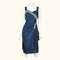 Vintage 1940s Cocktail Party Dress Beaded Blue Taffeta Size M