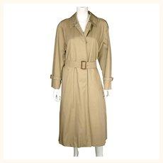 Vintage English Aquascutum Raincoat Cotton Blend Made in England Ladies Size M