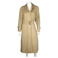 Vintage English Aquascutum Raincoat Cotton Blend Made in England Ladies Size M