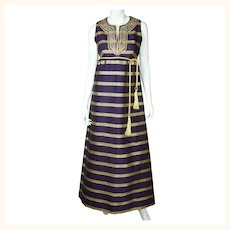 Vintage 1960s Purple Silk Metallic Gold Evening Gown Goddess Dress Rappi Size M