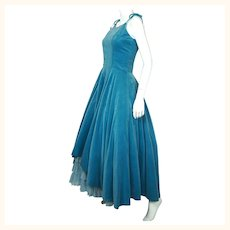 Vintage 1950s Velvet Ball Gown Formal Dress with Tulle Bottom Size M
