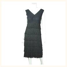Vintage 1960s Fringed Twist Dance Dress Hugh Garber for Margo Canadian Design M