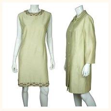 Vintage 1960s Beaded Silk Dress & Coat Set Light Green Custom Made Size L XL