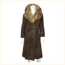 Vintage 1970s Lanvin Paris Suede Leather Coat with Fur Collar Ladies Size M