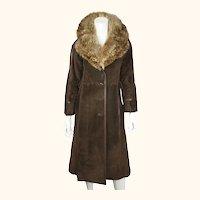 Vintage 1970s Lanvin Paris Suede Leather Coat with Fur Collar Ladies Size S