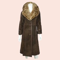 Vintage 1970s Lanvin Paris Suede Leather Coat with Fur Collar Ladies Size S