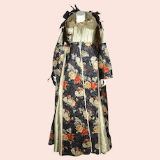 Vintage Carnival of Venice Ball Gown Dress with Hooded Coat Exceptional Fabric M