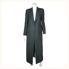 Vintage Yves Saint Laurent Black Wool Coat Made in France Ladies Size 40
