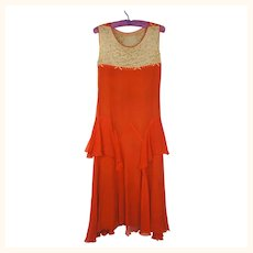 Vintage 1920s Red Silk Chiffon Dress with Lace and Rhinestones Size Small