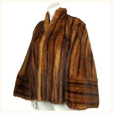 Vintage 1940s Muskrat Fur Cape Size Medium to Large