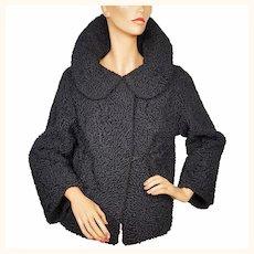 Vintage Schiaparelli Paris Black Curly Lamb Fur Jacket 1950s Glamour