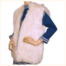 Vintage 1970s White Mongolian Curly Lamb Fur Vest Size M