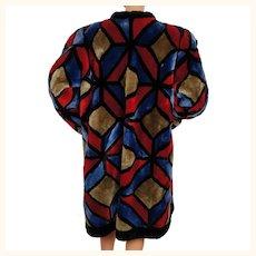 Vintage 1980s Christian Dior Shearling Fur Coat - Multicoloured Patchwork