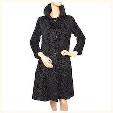 Vintage 1960s Christian Dior Broadtail Lamb Fur Coat - Holt Renfrew - Sz S