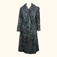 Vintage Astrakhan Broadtail Lamb Fur Coat Black Swakara Ladies Size M 1960s