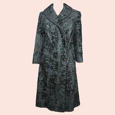 Vintage Astrakhan Broadtail Lamb Fur Coat Black Swakara Ladies Size M 1960s