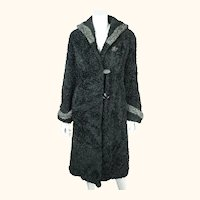 Vintage 1950s Faux Fur Coat Curly Lamb Wool Fabric Lorna Mae by Cammy Ladies M