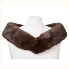 Vintage Mink Fur Collar or Scarf Mahogany Brown Neck Wrap - 37 by 4 Inches