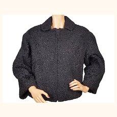 Vintage 1970s Black Curly Lamb Fur Jacket - Alexandor Montreal Size M / L