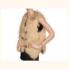 Vintage 1960s Hippie Curly Lamb Fur Vest Size L