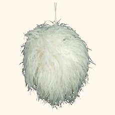 Vintage White Ostrich Feather Muff w Zippered Compartment Purse Bridal Accessory