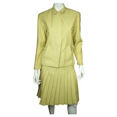 Vintage 1970s Cacharel Paris Skirt Suit Chartreuse Pure Wool Ladies Size M 8