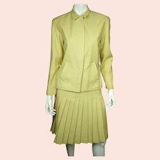 Vintage 1970s Cacharel Paris Skirt Suit Chartreuse Pure Wool Ladies Size M 8