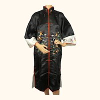 Vintage NOS 1950s 60s Dressing Gown Black Silk Embroidered Lounging Robe Hong Kong M L