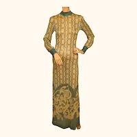 Vintage 1970s Dress Art Nouveau Print Metallic Lame Evening Gown Pelilla Italy Size 8