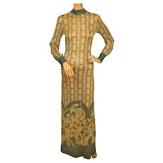Vintage 1970s Dress Art Nouveau Print Metallic Lame Evening Gown Pelilla Italy Size 8