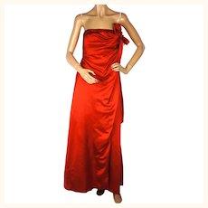 Vintage Helena Barbieri Evening Gown 1960s Red Silk Dress American Designer Sz S