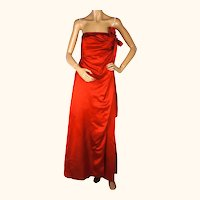 Vintage Helena Barbieri Evening Gown 1960s Red Silk Dress American Designer Sz S