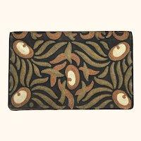 Vintage 1920s Clutch Purse Art Deco Metallic & Silk Embroidery Pocketbook