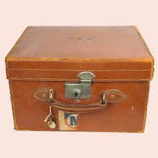 Vintage 1920s Top Hat Leather Travel Case Scotts London Luggage with Provenance