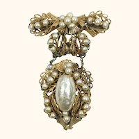 Vintage Miriam Haskell Baroque Pearl Brooch Chatelaine Style Bow Dangling Pendant