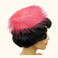 Vintage 1960s Pink Pillbox Hat Ladies Cocktail Party Evening Wear One Size