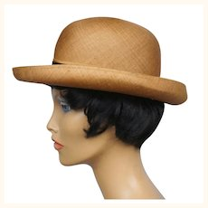 Vintage 1960s Edward Mann London Fedora Hat Russet Hemp Straw Ladies Size M