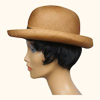 Vintage 1960s Edward Mann London Fedora Hat Russet Hemp Straw Ladies Size M
