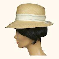 Vintage 1960s NWT Edward Mann London Fedora Hat Hemp Straw Ladies Size 7 Unused