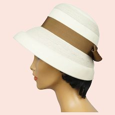 Vintage 1960s Bucket Hat with High Crown Off White Felt Josee Montreal Size M