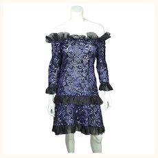 Vintage 1980s Yves Saint Laurent Violet Blue Sequin Lace Party Dress Size M