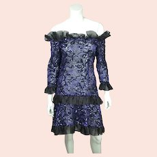 Vintage 1980s Yves Saint Laurent Violet Blue Sequin Lace Party Dress Size M